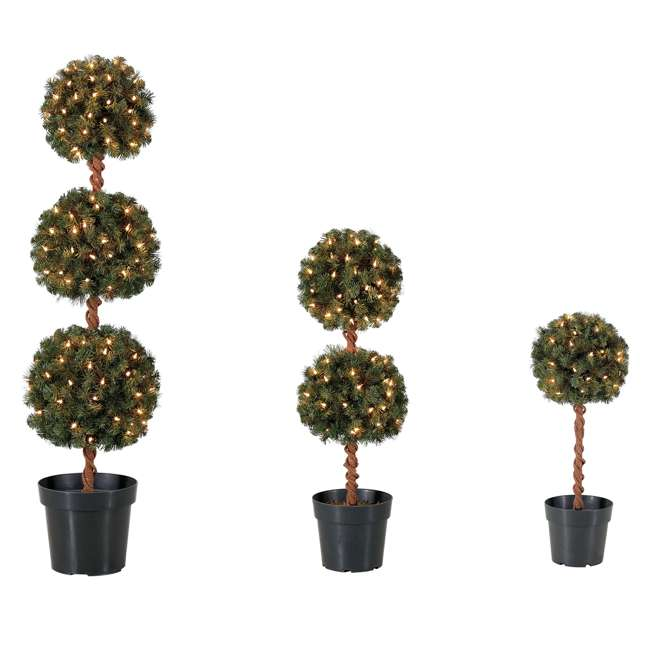 TP40M2W72C09 + TP30M2W72C00 + TP26M2W72C00 Home Heritage 4 Ft Artificial Tree w/ Clear Lights + 3 Ft Tree + 2.5 Ft Tree