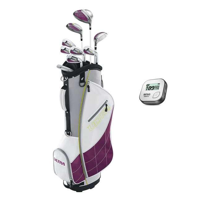 WGGC43400 + GB7-VOICE2-GREY Wilson Ultra Ladies Right-Handed Super Long Golf Club Bag Set & Rangefinder