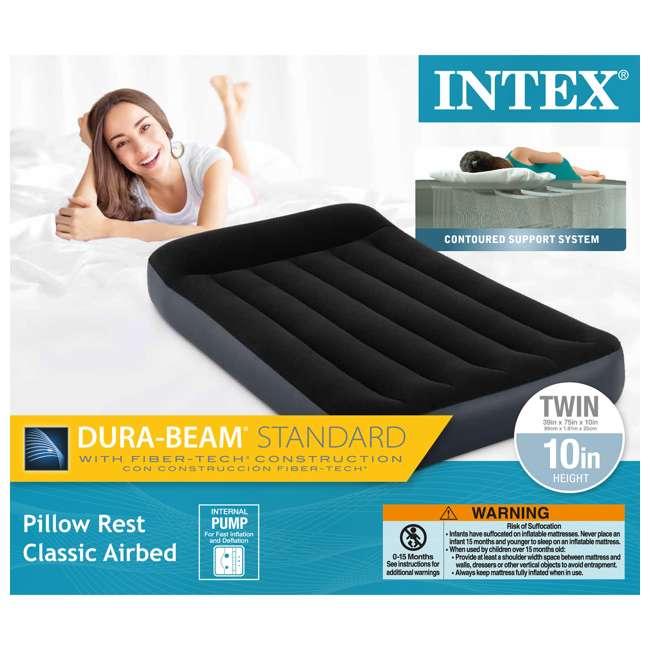 64145EP-U-A Intex Dura Beam Pillow Rest Fiber Tech w/ Built In Pump, Twin (Open Box)(2 Pack) 4