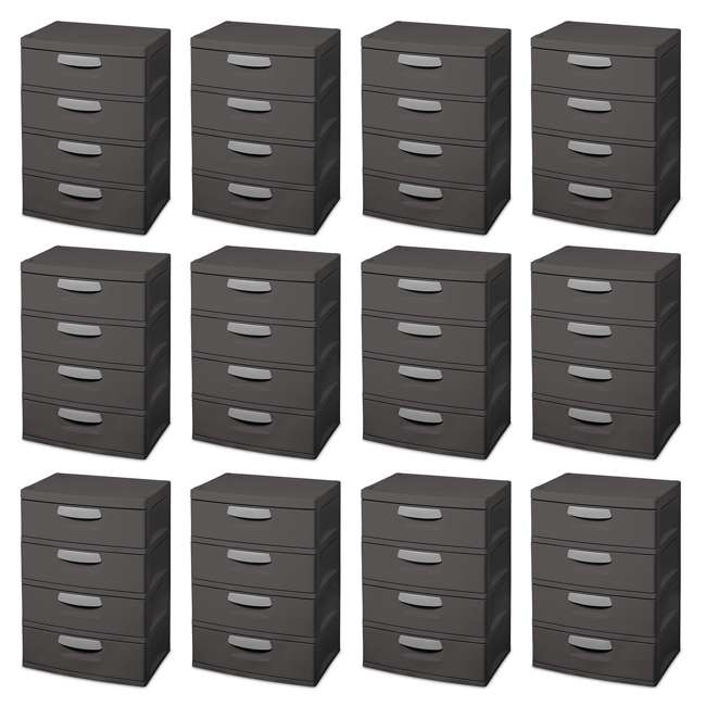 12 x 01743V01 Sterilite 4-Drawer Storage Unit (12 Pack)