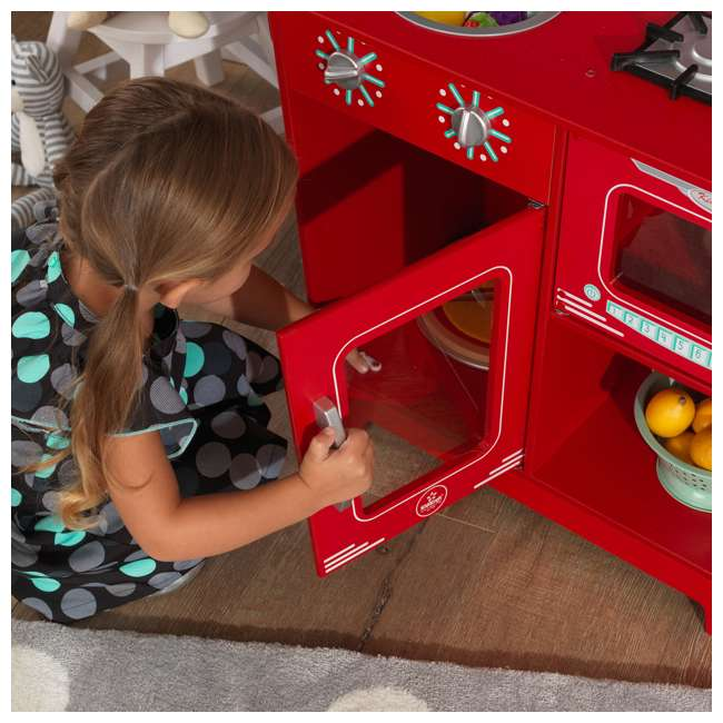 KDK-53362 KidKraft Classic Pretend Play Kitchenette Set, Red 4