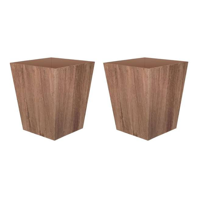 1619BP4 Suncast 16 Inch Farmington Rustic Wood Finish Garden Planter, Brown (2 Pack)