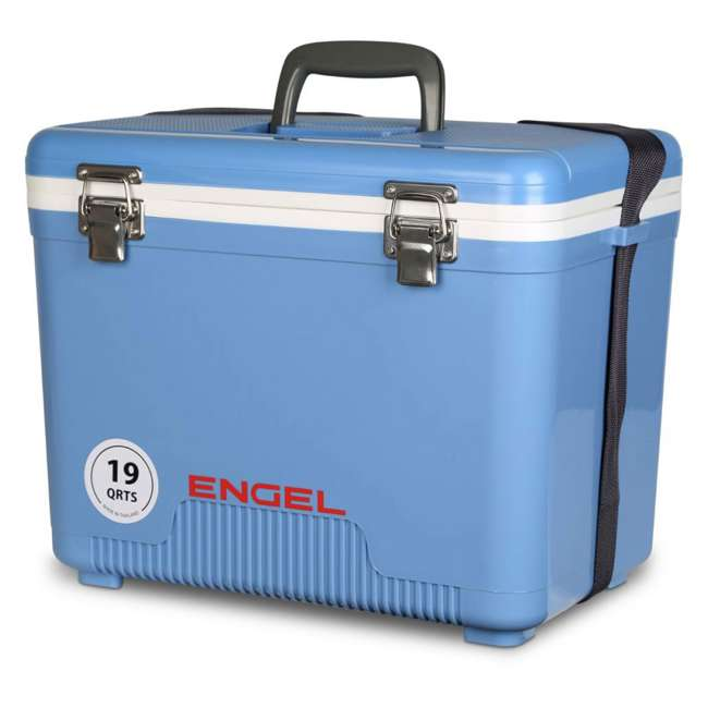 4 x UC19B Engel 19-Quart Dry Box Cooler with Shoulder Strap, Arctic Blue (4 Pack) 3