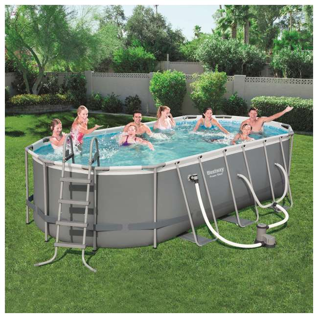 56711E-BW + 58422E-BW Bestway Power 18 x 9 x 4 Foot Above Ground Pool Set with Pump & Aqua Vacuum 10