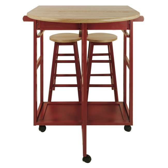 355-29 Casual Home Drop Leaf Hardwood Mobile Breakfast Cart with 2 Wooden Stools, Red 1