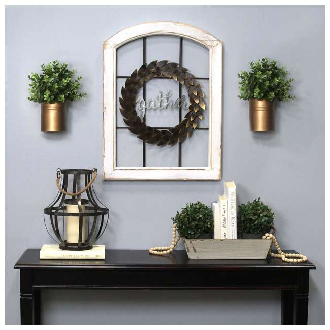 S15034 Stratton Home Decor Gather Bronze Wreath Window Wall Decor, Distressed White 2