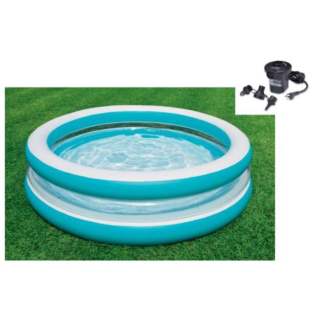 Intex Swim Center Clear Inflatable Swimming Pool With Air Pump 57489ep 66619e