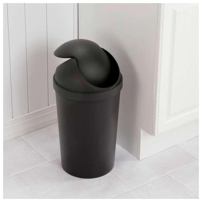 6 x 10839006 Sterilite 10839006 3 Gallon Round Swing Top Plastic Wastebasket, Black (6 Pack) 2