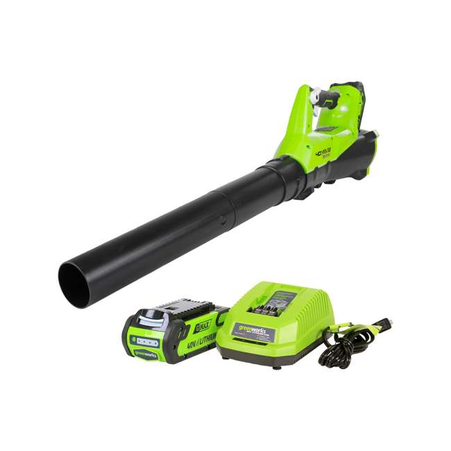 GW-2400302 Greenworks 2400302 Cordless Brushless Leaf Blower with 2Ah Battery and Charger