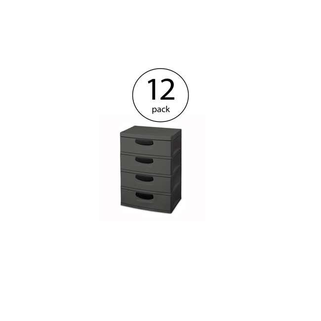 12 x 01743V01 Sterilite 4-Drawer Storage Unit (12 Pack)