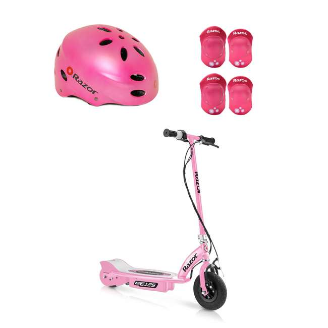 13111163 + 97783 + 96783 Razor E125 Electric Rechargeable Scooter + Bicycle Helmet + Elbow & Knee Pad Set