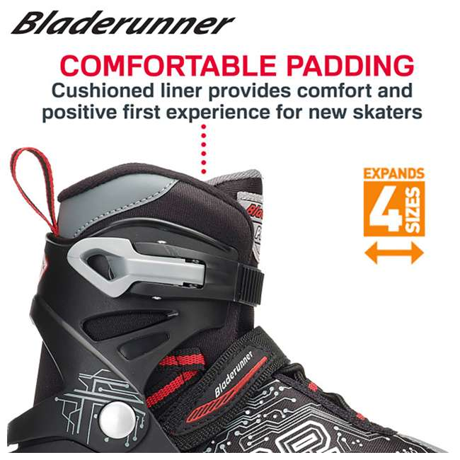 0T612200816-11J-1 Bladerunner Phoenix Boys Adjustable Kids Junior Inline Skates, Black and Silver 4
