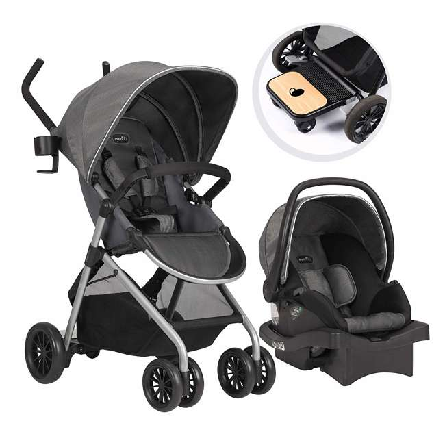 56232216 Evenflo 56232216 Sibby Travel System, LiteMax 35 Infant Car Seat, Highline Gray