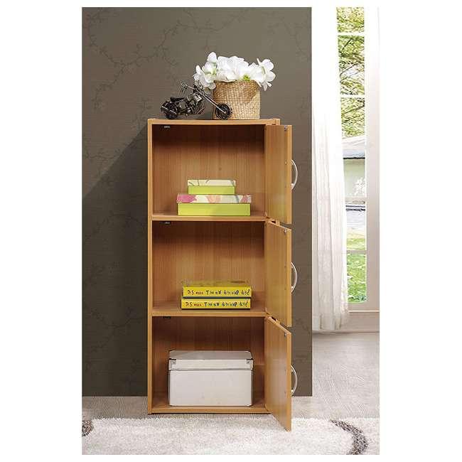HID3 BEECH Hodedah 3 Door Enclosed Multipurpose Storage Cabinet for Home or Office, Beech 3