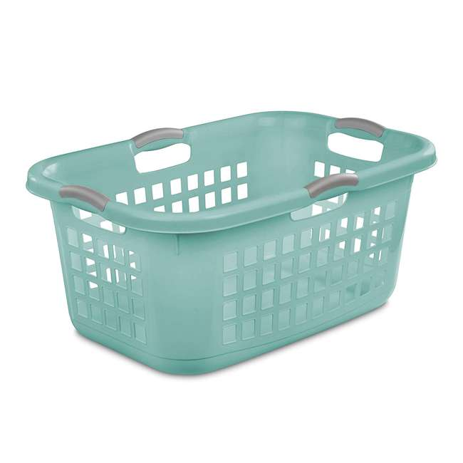 6 x 12167906 Sterilite Ultra 2 Bushel Plastic Stackable Clothes Laundry Basket Bin, Aqua (6 Pack) 1