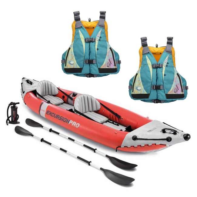 68309EP + 2 x MTI-807J-0BS45 Intex Excursion Pro Inflatable Kayak Set w/ 2 Life Jackets, M/L