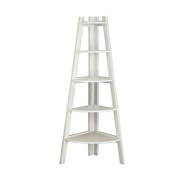 IDF-AC6214WH Furniture of America Lyss Contemporary 5 Tier Wooden Corner Ladder Shelf, White