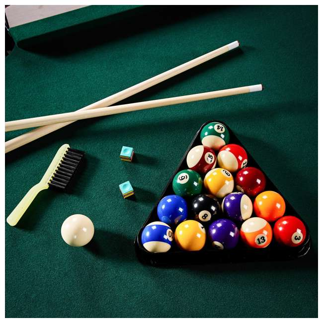 BLL090_128P Lancaster 90-Inch Full Size Green Pool Table w/ Leather Pockets, Cues, and Chalk 6