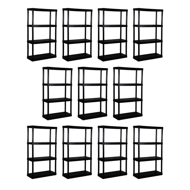 11 x GL91021MAXIT-1C-36 Gracious Living 4-Tier Resin Garage Storage Shelf, Black (11 Pack)