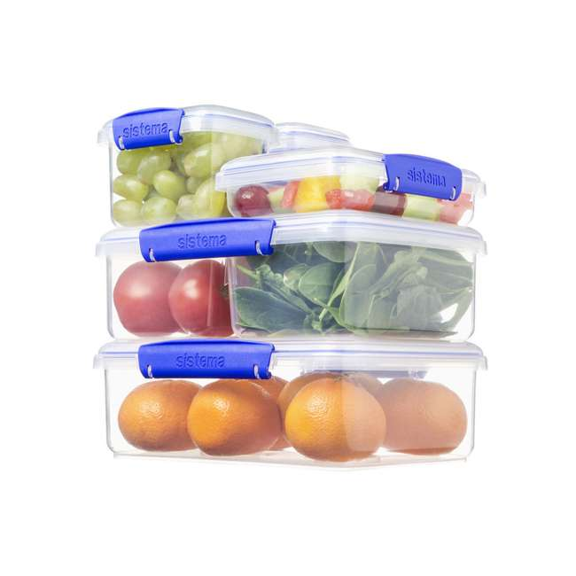 SISTEMA-1850 Sistema 1850 Klip It Rectangle Food Storage Box Container, 21 Cup 2