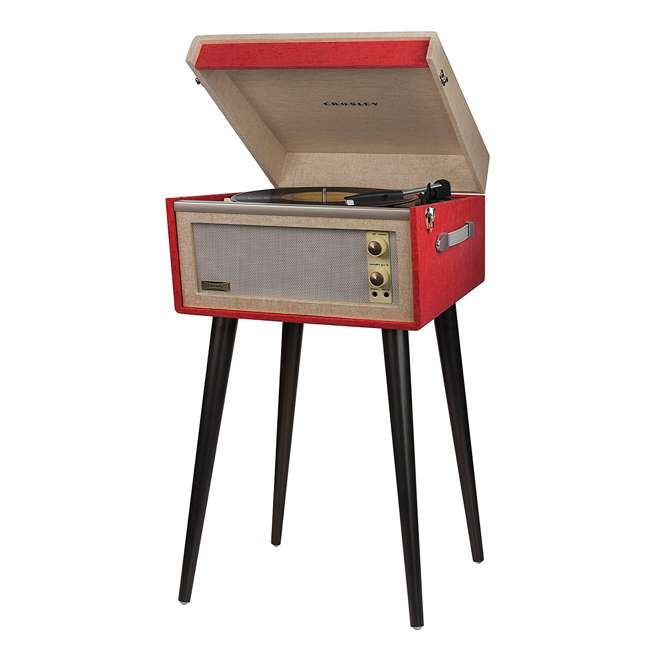 CR6233A-RE Crosley Dansette Bermuda Freestanding Portable Turntable, Red