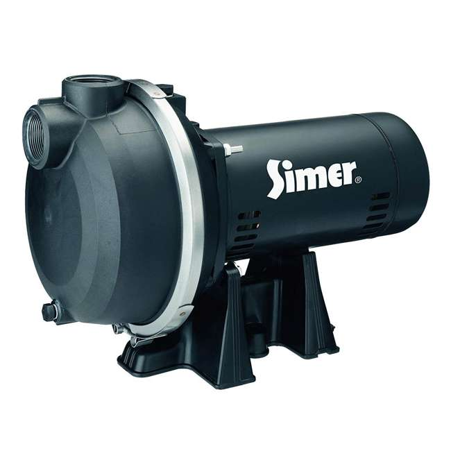 3415P Simer 3415P 1-1/2 HP Thermoplastic Outdoor Irrigation Lawn Sprinkler System Pump