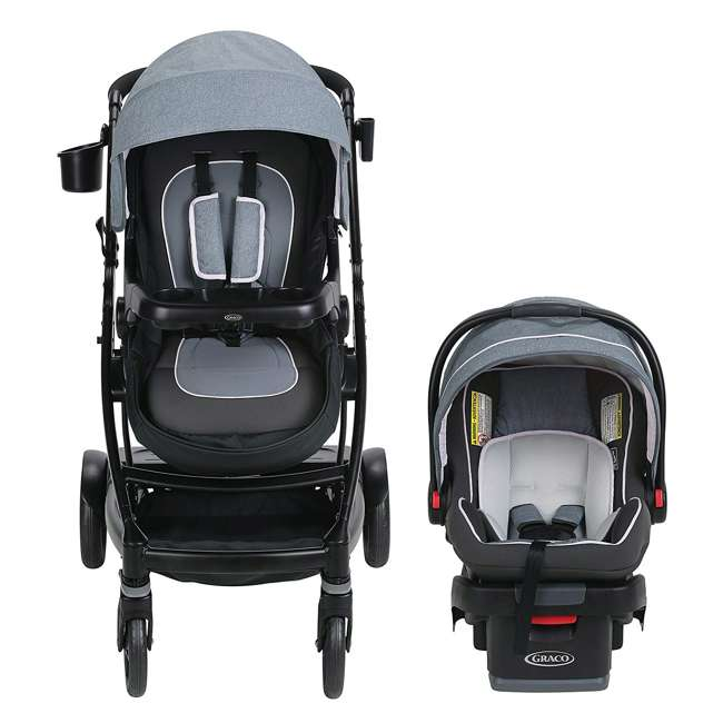 2032495 Graco UNO2DUO Baby Single Double Stroller & Infant Car Seat Travel System, Hazel 1