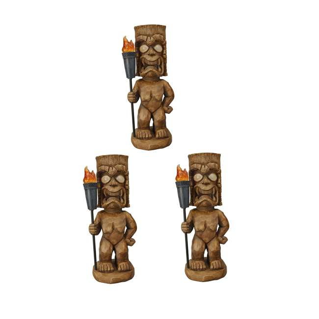 3 x 95960 Moonrays Outdoor 18.5 Inch Tiki Warrior Lawn Statue w/ Solar LED Light (3 Pack)