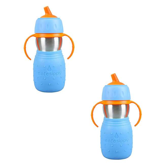 894148002350 Kid Basix Stainless Steel Safe Sippy Cup 11 Ounce Bottle, Blue (2 Pack)