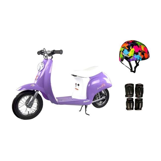 15130661 + 97913 + 96785 Razor Pocket Mod Mini Euro 24V Electric Kids Scooter w/ Helmet & Protective Pads
