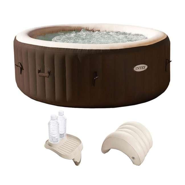 28403VM + 28500E + 28501E Intex PureSpa 4 Person Inflatable Spa Portable Hot Tub with Cupholder & Headrest