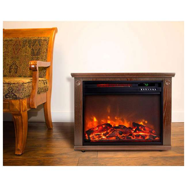 LS-IF1500-DOFP Lifesmart LS-IF1500-DOFP Large Room Quartz Infrared Fireplace Space Heater, Oak 2