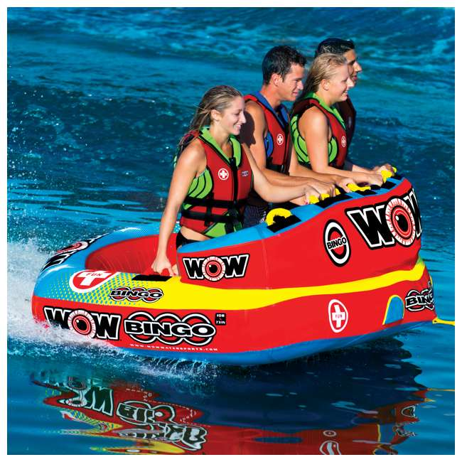 14-1080 Wow Bingo 2 Inflatable 2 Person Seating Ride Cockpit Towable Water Sports Tube  2