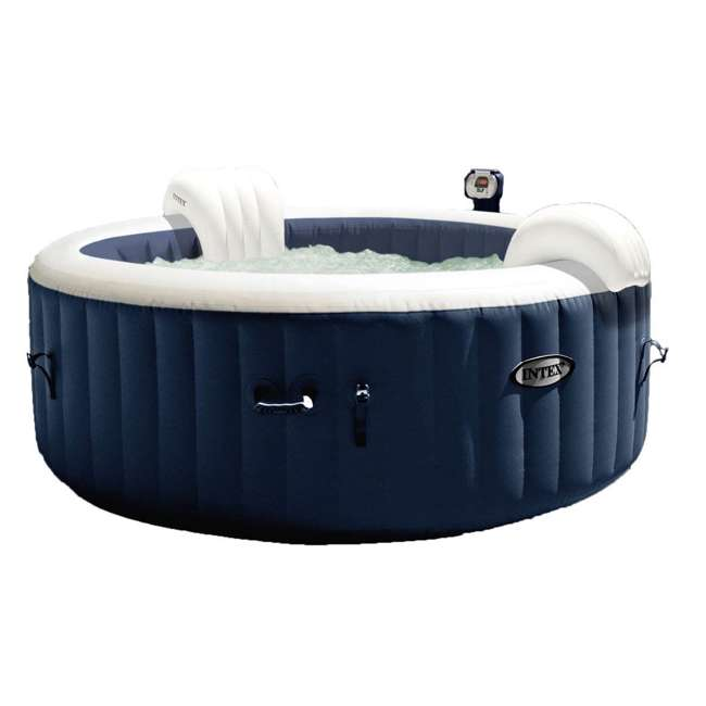 28405E + 28004E + QLC-14890 Intex Pure Spa 4-Person Home Inflatable Hot Tub, Accessory Kit, & Chemical Kit 1