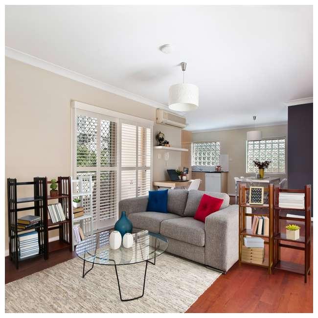 331-39 Casual Home 3 Shelf 14 Inch Folding Office Furniture Wood Bookcase, Mahogany  6