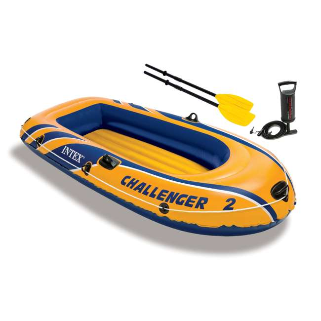 68367EP-U-A INTEX Challenger 2 Inflatable Boat Set with Air Pump & Oars (Open Box) (2 Pack)