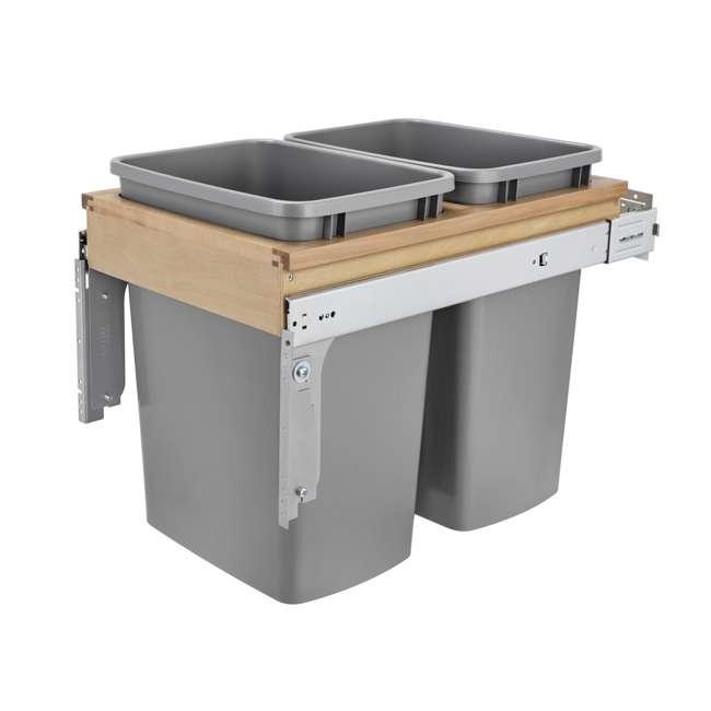 4WCTM-18BBSCDM2-25 Rev-A-Shelf 4WCTM-18BBSCDM2 Double 35 Qt Pull Out Trash Can w/Soft Close, Silver