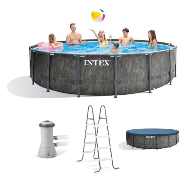 26741EH Intex 15ft x 48in Greywood Prism Steel Frame Pool Set with Cover, Ladder, & Pump