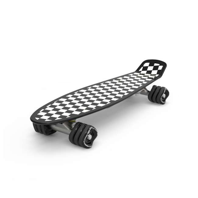 8073 + 8004 Fathom by Shark Wheel Barracuda Checkered 22 Inch Skateboard, Black and White +  M/L Helmet 1