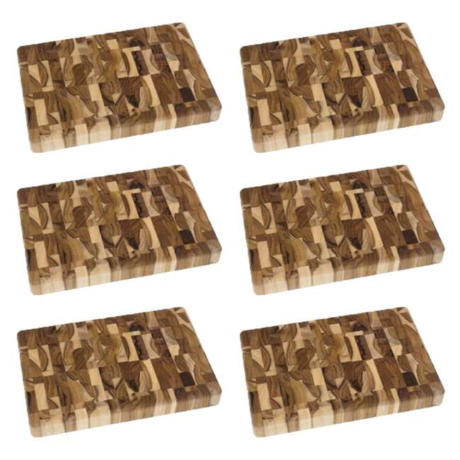 "6 x LP-7218 Lipper International Teak End Grain 12"" x 8"" Chopping Block (6 Pack)"