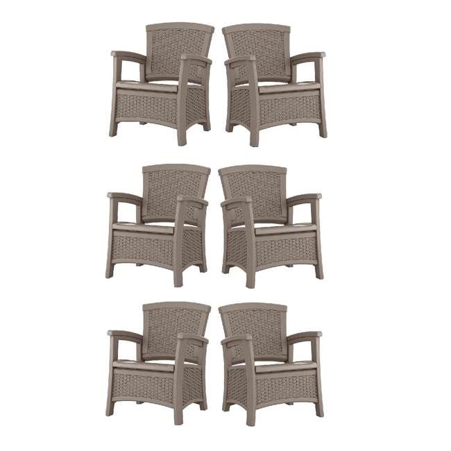 6 x BMCC1800DT Suncast BMCC1800DT Elements Wicker Design Club Chair with Storage (6 Pack)
