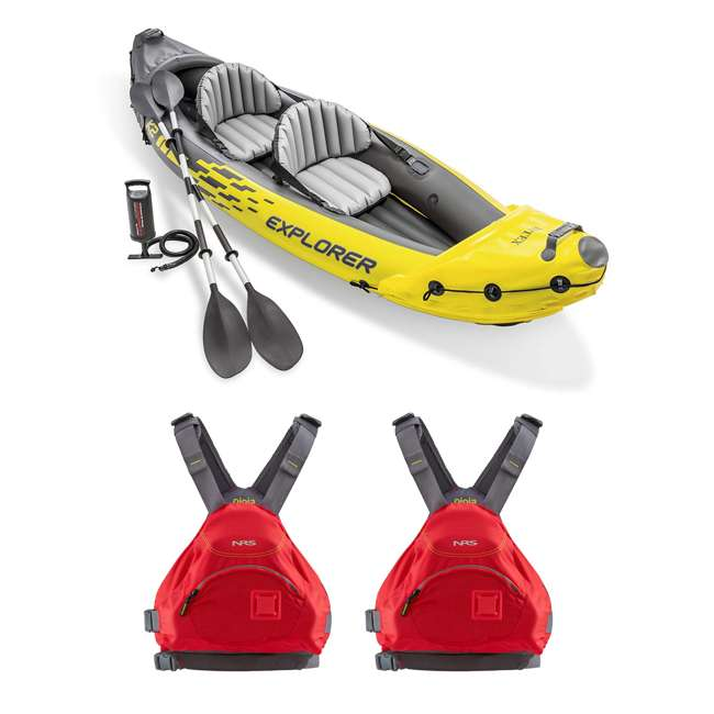 68307EP + 2 x NRS_40013_03_103 Intex Explorer Inflatable Kayak with Pump & Large XL Life Jacket, Red (2 Pack)