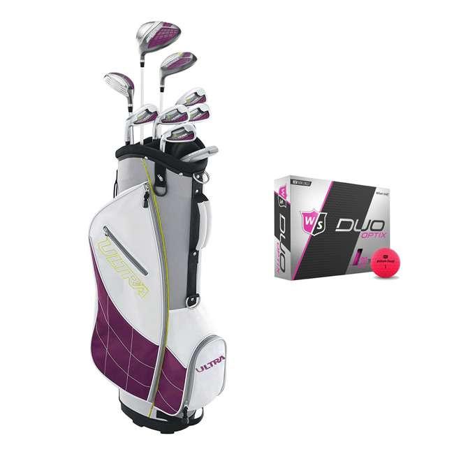 WGGC4340L + WGWP43500 Wilson Ultra Ladies Left-Hand Super Long Golf Club Bag Set & Balls