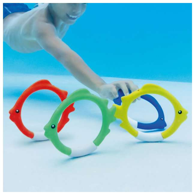 55507E Intex Diving Pool Kids Toy Play Underwater Fish Rings Sticks, 4 Pack (Open Box) 4