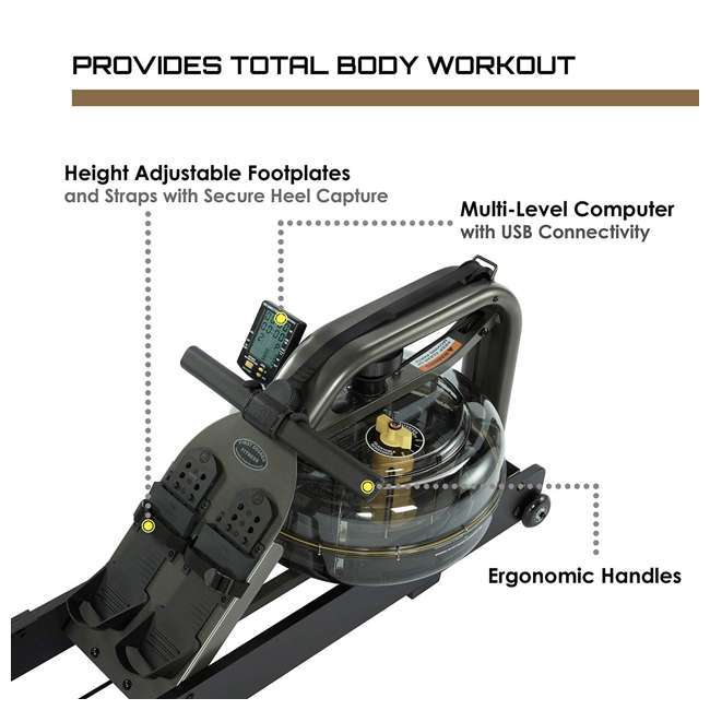 APPRO2B First Degree Fitness Indoor Water Rower with Adjustable Resistance - Apollo Pro II Black Reserve 6