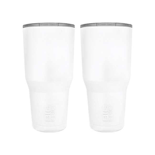 BFT30-WH Big Frig 30 Oz Stainless Steel Tumbler w/Lid, White (2 Pack)