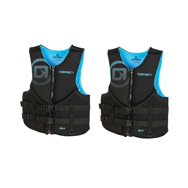 2181996-MW OBrien Men's Neoprene Life Vest Size XLarge, Cyan (2 Pack)