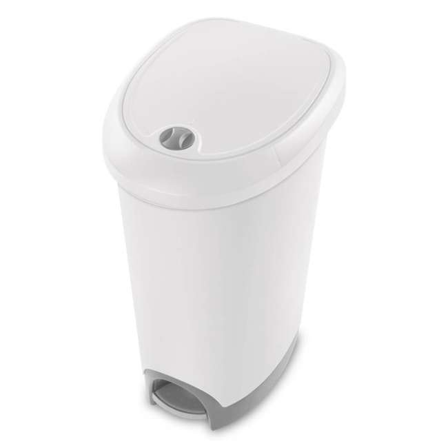 4 x 10738002 Sterilite 12.6 Gal Locking StepOn Garbage Wastebasket, White (Open Box) (4 Pack)