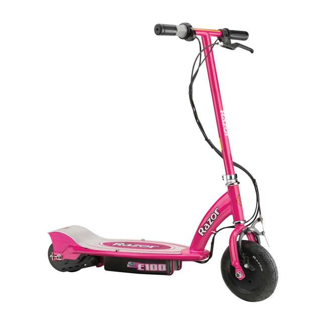 13111261 + 97880 + 96785 Razor E100 Pink 24V Electric Ride On Scooter w/ Red Helmet & Red Elbow/Knee Pads 1