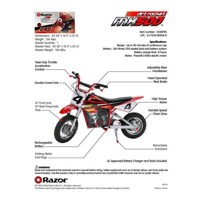 15128190  Razor MX500 Kids Dirt Rocket Electric Bike Motorcycle 6